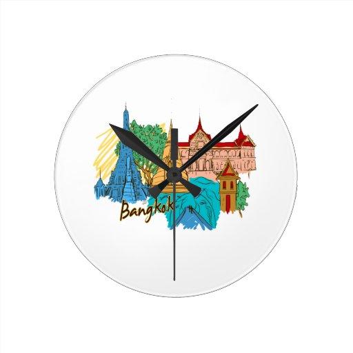 ciudad graphic.png del viaje de Bangkok Reloj De Pared