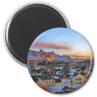 Ciudad Groenlandia de Nuuk de Ozborne Whilliansson Imán Redondo 5 Cm