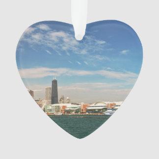 Ciudad - horizonte de Chicago y el embarcadero de