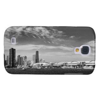 Ciudad - horizonte y el embarcadero BW de Chicago Carcasa Para Galaxy S4