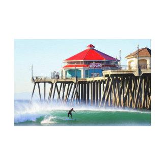 Ciudad Huntington Beach Ca de la resaca Lona Estirada Galerías