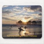 Ciudad Huntington Beach California de la resaca Alfombrilla De Raton