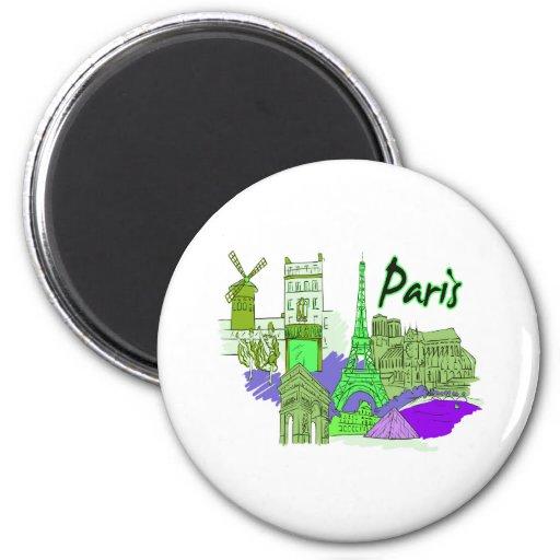 ciudad image.png del verde de París 2 Imán Redondo 5 Cm