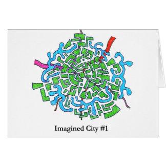 Ciudad imaginada #1 tarjeta de felicitación