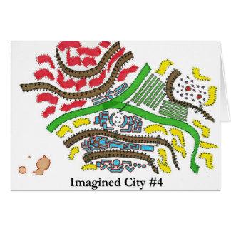 Ciudad imaginada #4 tarjeta de felicitación