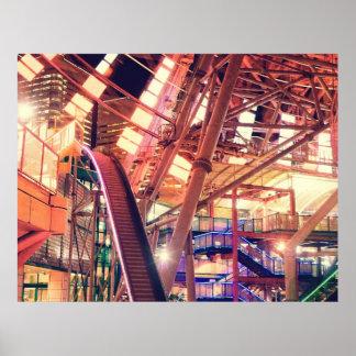 Ciudad industrial del vintage gigante de la noria  póster