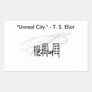 Ciudad irreal pegatina rectangular