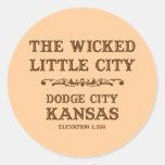 Ciudad Kansas de Dodge Etiqueta Redonda