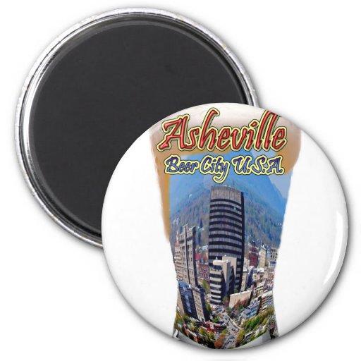 Ciudad los E.E.U.U. de la cerveza de Asheville Imán Redondo 5 Cm