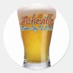 Ciudad los E.E.U.U. de la cerveza de Asheville Etiqueta Redonda