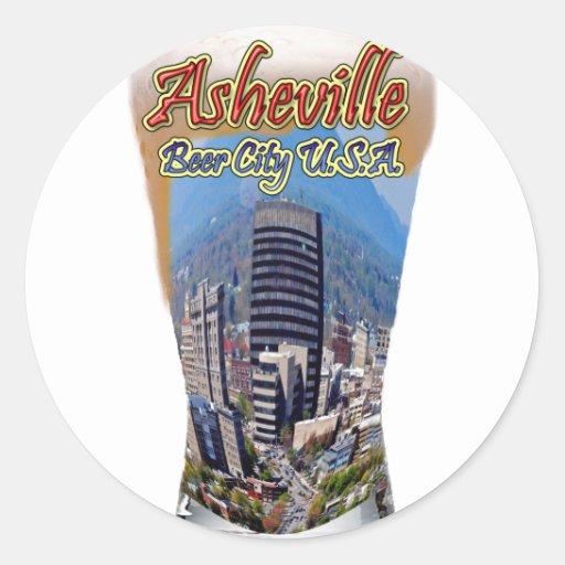 Ciudad los E.E.U.U. de la cerveza de Asheville Pegatinas Redondas