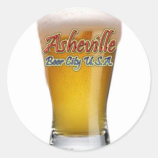 Ciudad los E.E.U.U. de la cerveza de Asheville Pegatina Redonda