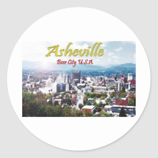 Ciudad los E.E.U.U. de la cerveza de ASHEVILLE, Pegatina Redonda