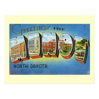 Ciudad mágica, Minot, vintage de Dakota del Norte Tarjetas Postales