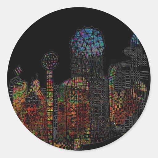 Ciudad marciana pegatina redonda