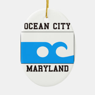 Ciudad Maryland del océano Adorno Navideño Ovalado De Cerámica