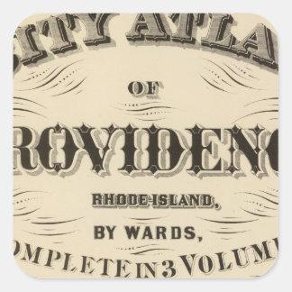 Ciudad muy temprana de Johnston Rhode Island Pegatina Cuadrada