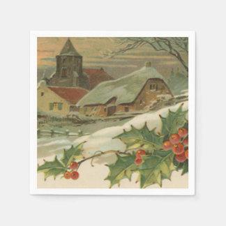 Ciudad nevada del navidad del vintage servilleta de papel