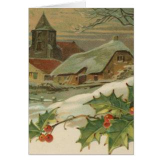 Ciudad nevada del navidad del vintage tarjetón