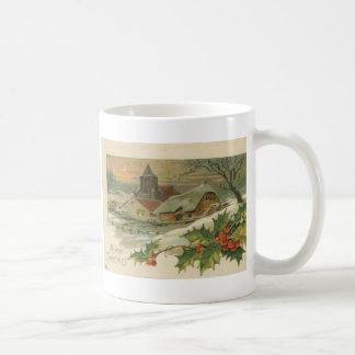 Ciudad nevada del navidad del vintage taza
