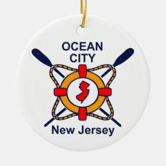 Ciudad NJ del océano Adorno Redondo De Cerámica