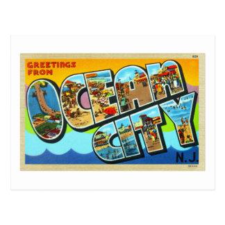 Ciudad NJ New Jersey del océano de la postal del