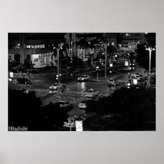 Ciudad, noche, sensación póster