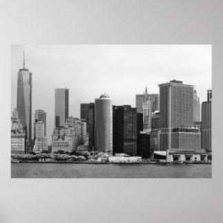 Ciudad - NY - el distrito financiero - BW Póster