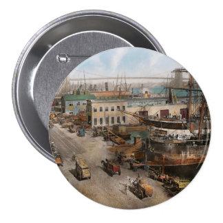 Ciudad - NY - puerto del sur de la calle - 1901 Chapa Redonda 7 Cm