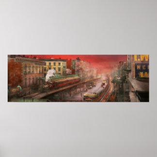 Ciudad - NY - tráfico de la hora punta - 1900 Impresiones