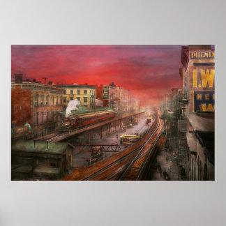 Ciudad - NY - tráfico de la hora punta - 1900 Posters