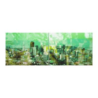Ciudad oxidada lienzo envuelto para galerias