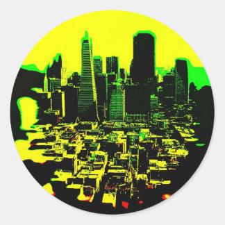 ciudad pegatina redonda