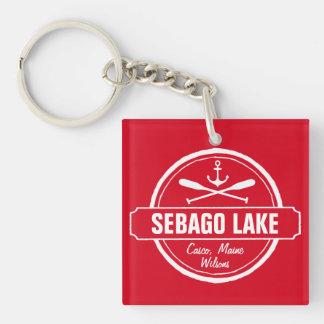 Ciudad personalizada Maine y nombre del lago Llavero Cuadrado Acrílico A Una Cara
