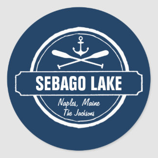 Ciudad personalizada Maine y nombre del lago Pegatina Redonda
