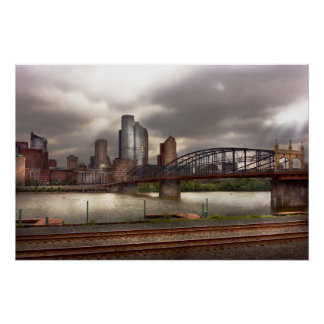 Ciudad - Pittsburgh, PA - puente de Smithfield Perfect Poster