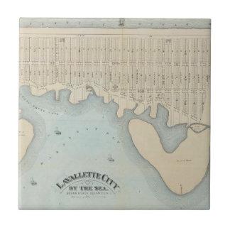 Ciudad por el mar, playa de Squan, NJ de Azulejo Cuadrado Pequeño