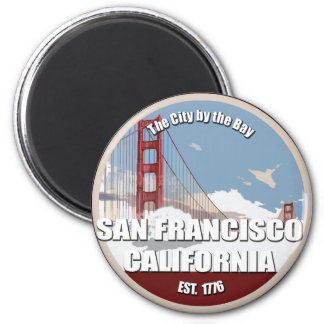 Ciudad por la bahía, San Francisco California Imán Redondo 5 Cm