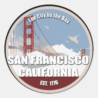 Ciudad por la bahía, San Francisco California Etiqueta Redonda