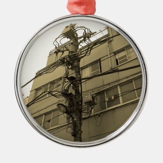 Ciudad poste eléctrico de Tokio Adorno Navideño Redondo De Metal