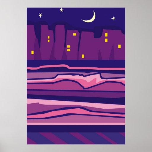 Ciudad púrpura en los posters de la noche