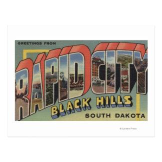 Ciudad rápida, Dakota del Sur - escenas grandes de Postal