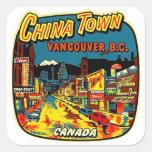 Ciudad retra Vancouver de China del kitsch del vin Pegatina Cuadradas