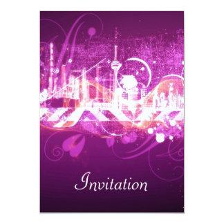 Ciudad rosada del rosa de la invitación de la