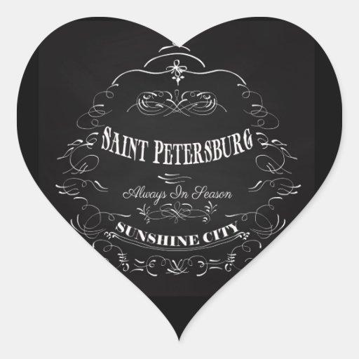 Ciudad-Santo Petersburgo-Siempre de la sol de temp Pegatina De Corazón