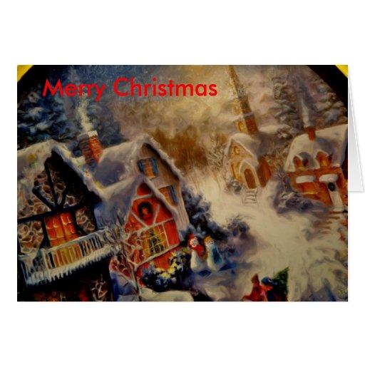 ciudad scene_Painting, Felices Navidad Tarjeta De Felicitación