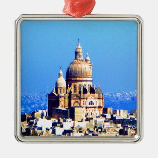 ciudad sublime de la bóveda de la iglesia adorno navideño cuadrado de metal