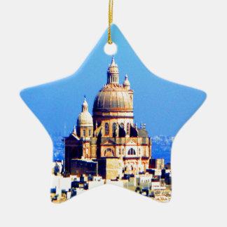 ciudad sublime de la bóveda de la iglesia adorno navideño de cerámica en forma de estrella