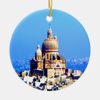 ciudad sublime de la bóveda de la iglesia adorno navideño redondo de cerámica