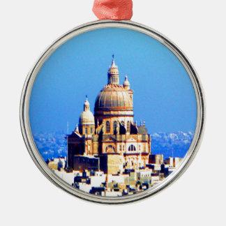 ciudad sublime de la bóveda de la iglesia adorno navideño redondo de metal